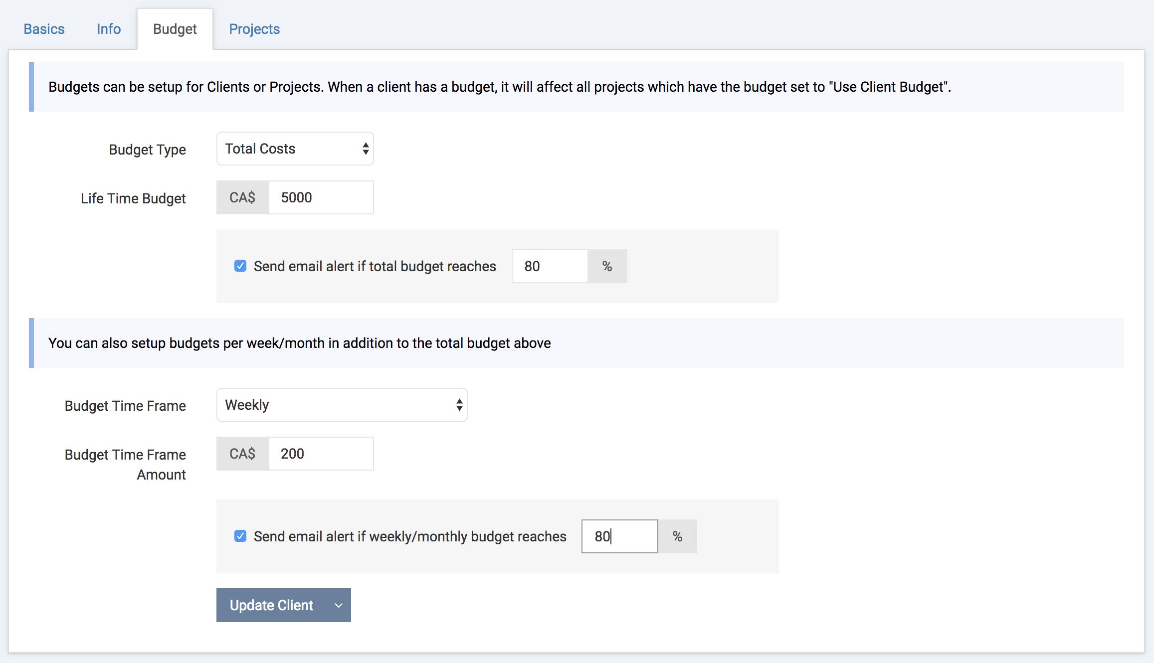Client Budgets