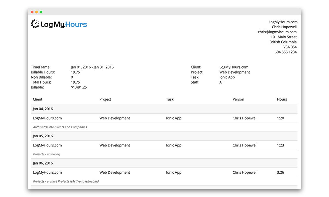Detailed Time Tracking Reporting